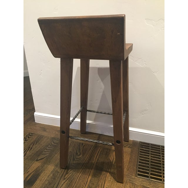 Reclaimed Elm Wood Bar Stools -- A Pair - Image 5 of 7