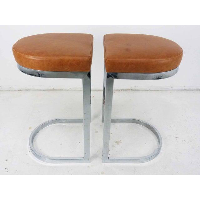 Milo Baughman Style Flat Bar Chrome Cantilever Bar Stools - A Pair - Image 5 of 10