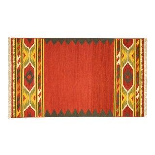 Red Vegetable Dyed Kilim Navajo Rug - 3' x 5'