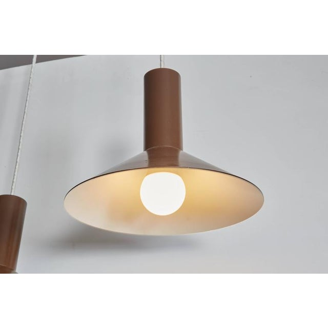Brown Pendant Cone Lamps, Pair - Image 3 of 5