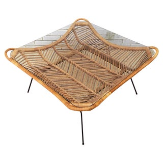 1960s Rattan, Iron & Glass Coffee Table