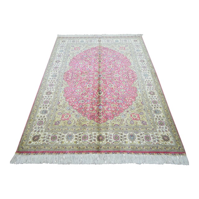Hand Knotted Turkish Silk Rug - 4′ × 5′10″ - Image 1 of 9