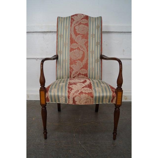 Wood & Hogan Custom Mahogany Inlaid Sheraton Style Lolling Chair - Image 10 of 10