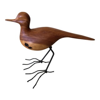 Mid-Century Modern Carved Bird With Iron Legs