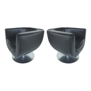 Early 21th Century Jeffery Bernett B&B Italia Leather Tulip Swivel Chairs, Pair