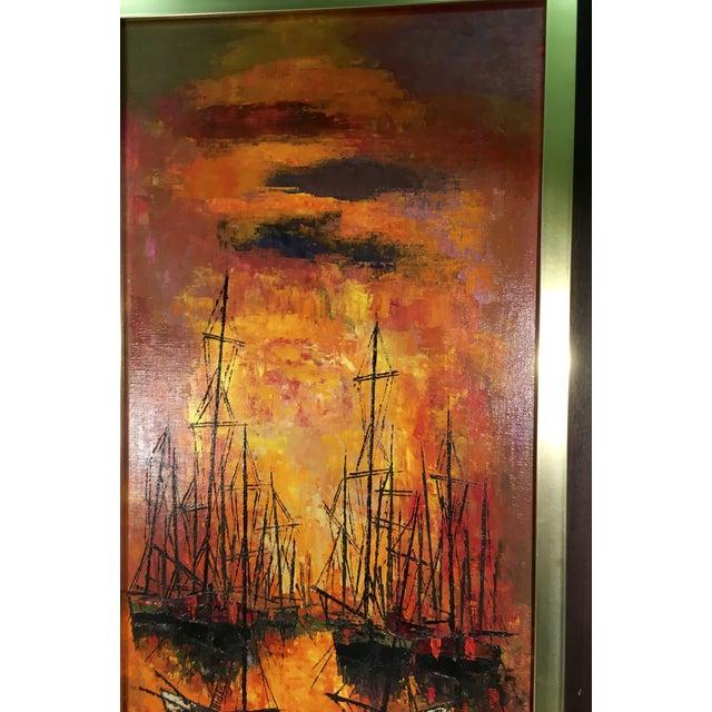 Vintage 1960s Abstract Sailboats Painting Chairish