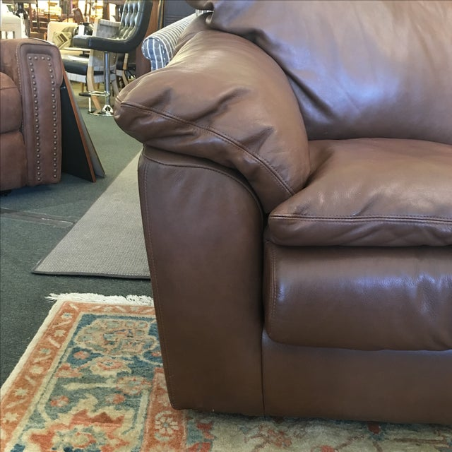 Image of Contemporary Brown Leather Sofa