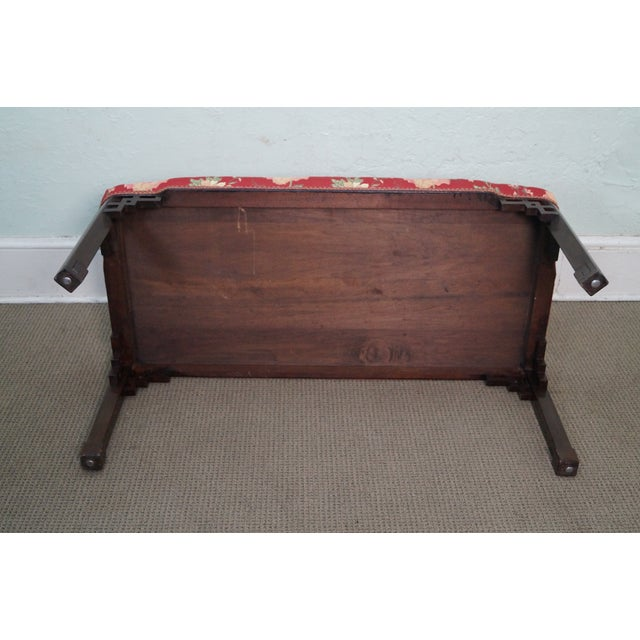 Vintage 1940s Mahogany Chippendale Style Bench - Image 6 of 10
