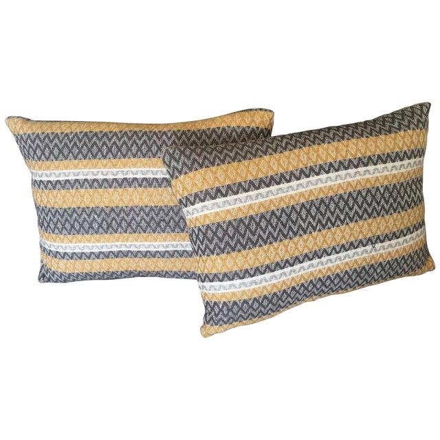 West Elm Silk Jacquard Hand-Woven Pillows - A Pair - Image 1 of 11