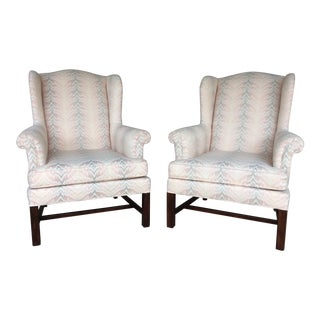 Drexel Traditional Classics Chippendale Style Wing Back Chairs - A Pair