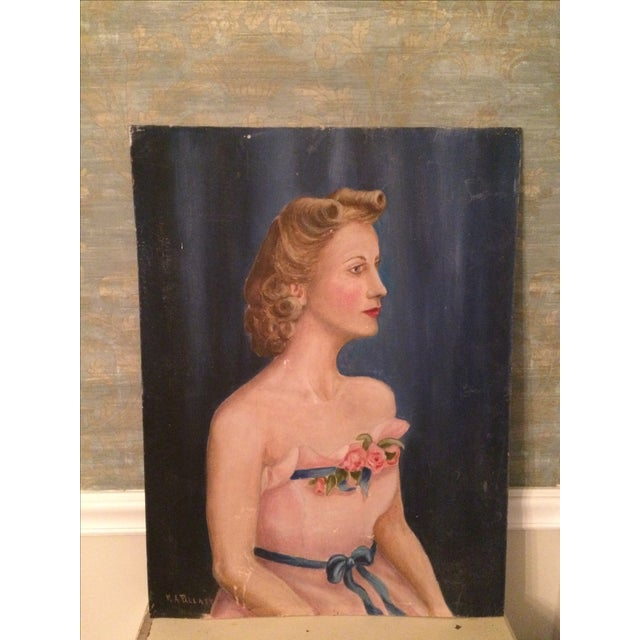 Vintage Beauty Queen Oil Portrait Painting - Image 4 of 7