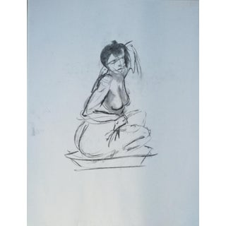 Original Charcoal Female Nude Gesture Drawing 11