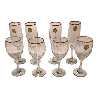 Turkiye Crystal Clear Set of Wine & Champagne Glasses - Set of 8