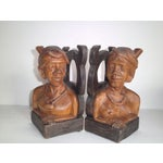 Image of Hand Carved Wooden Bookends