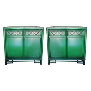Vintage Green Lacquer Nightstands - A Pair