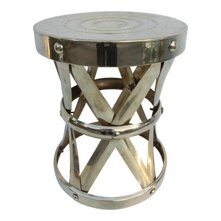 Vintage Brass X Drum Table