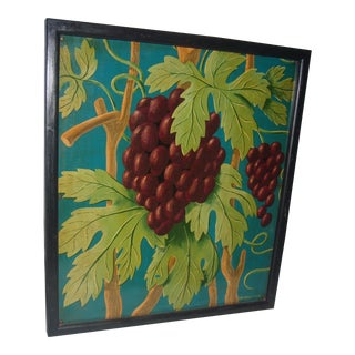 Grapes on the Vine Painted on Wood by David Barnet