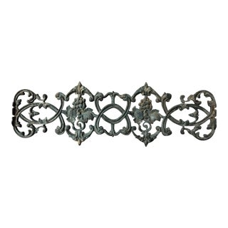 Antique Rococo Vineyard Cast Iron Scrolling Wall Accent, Architectural Salvage