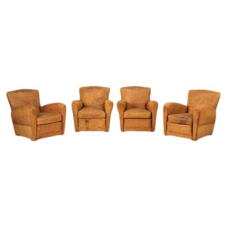French Leather Club Chairs - Set of 4