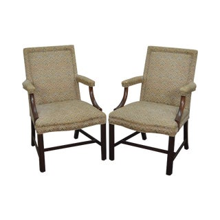 Kittinger Mahogany Chippendale Style Arm Chairs - A Pair