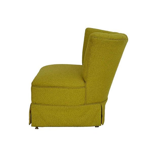 Image of Mid-Century Green Channel Tufted Slipper Chair