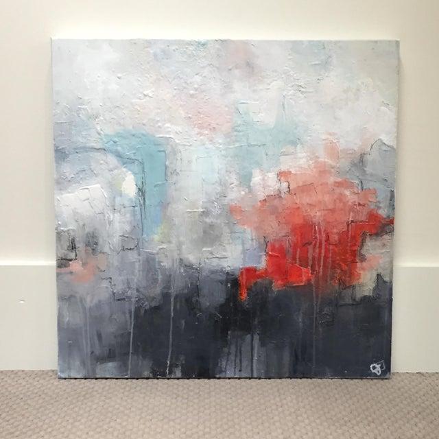 Jordan Johnson Aqua & Coral Abstract I Painting - Image 2 of 5