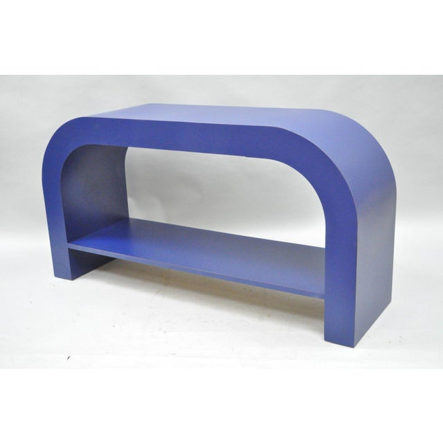 Mid Century Post Modern Blue Laminate Curved Waterfall Console - Image 5 of 11