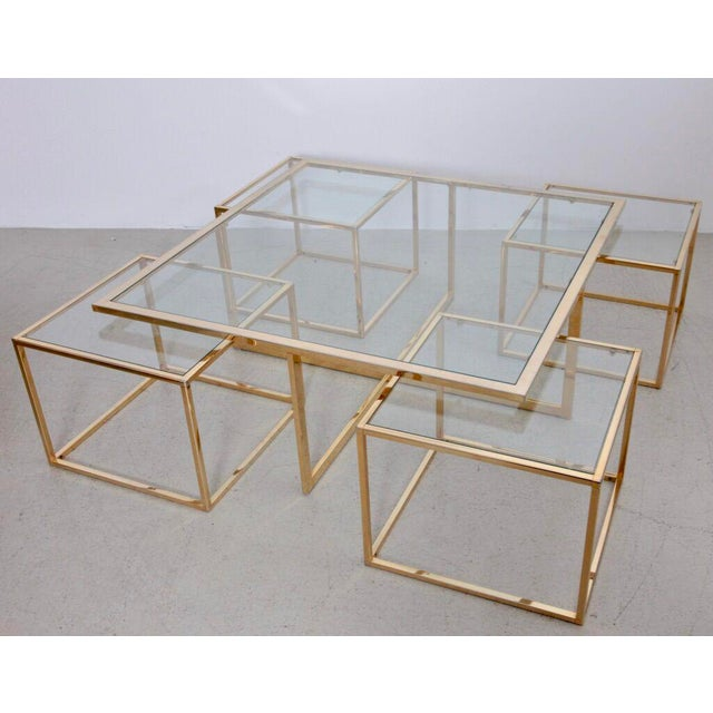 Huge Coffee Table in Brass with Four Nesting Tables by Maison Charles - Image 6 of 6