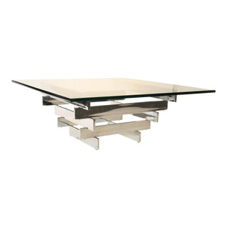 Paul Mayen Mid-Century Chrome & Glass Coffee Table