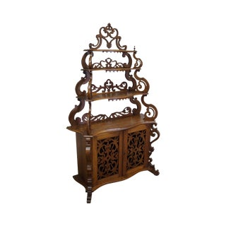 Antique Victorian Walnut Etagere Cabinet