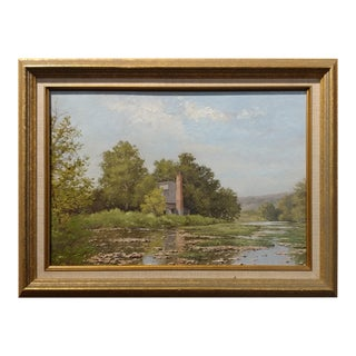 August Goeser - The Mill in Milford Kentucky - 1905 Impressionist landscape -Oil painting oil painting on board -signed