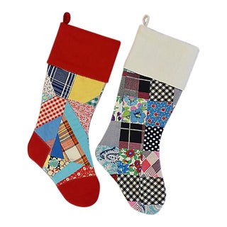 Custom Tailored Patchwork Quilt Christmas Stockings - Pair
