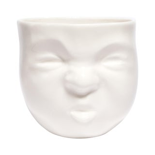 """White Ceramic """"Pouty"""" Face Cup"""