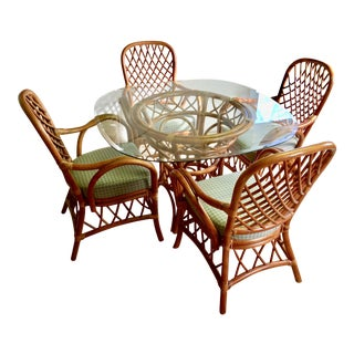 Rattan Dining Set - 4 Arm Chairs with Glass Top Table
