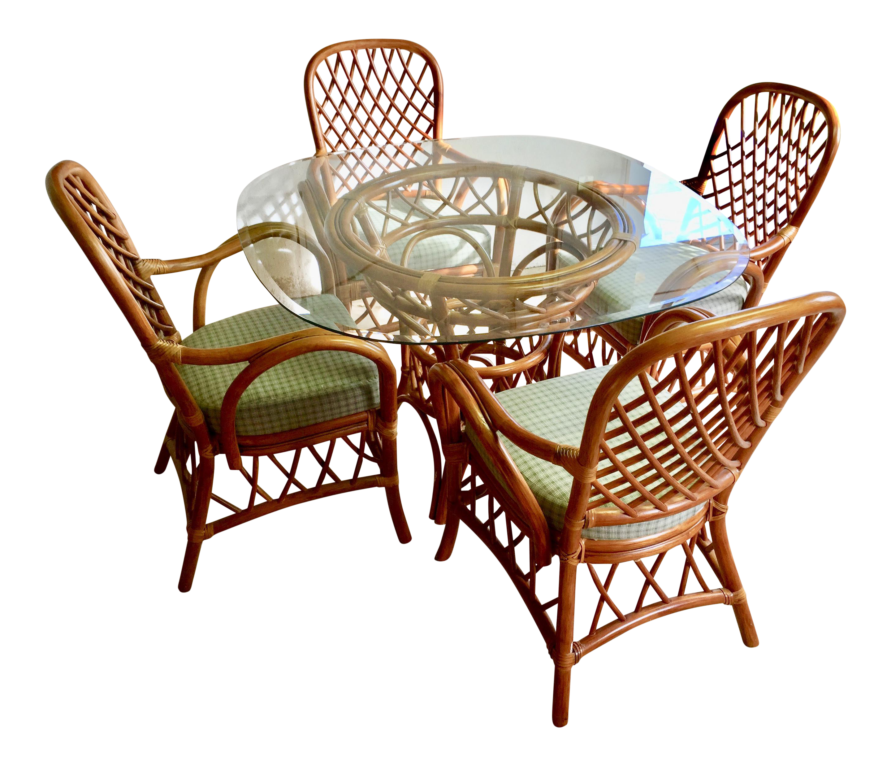 Rattan Dining Set   4 Arm Chairs With Glass Top Table Part 35