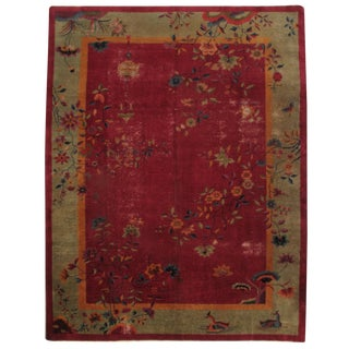 Antique Chinese Hand-Knotted Rug - 8′10″ × 11′3″