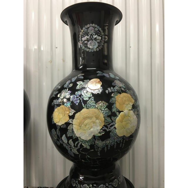 Asian Mother of Pearl Vases on Stands - A Pair - Image 5 of 11