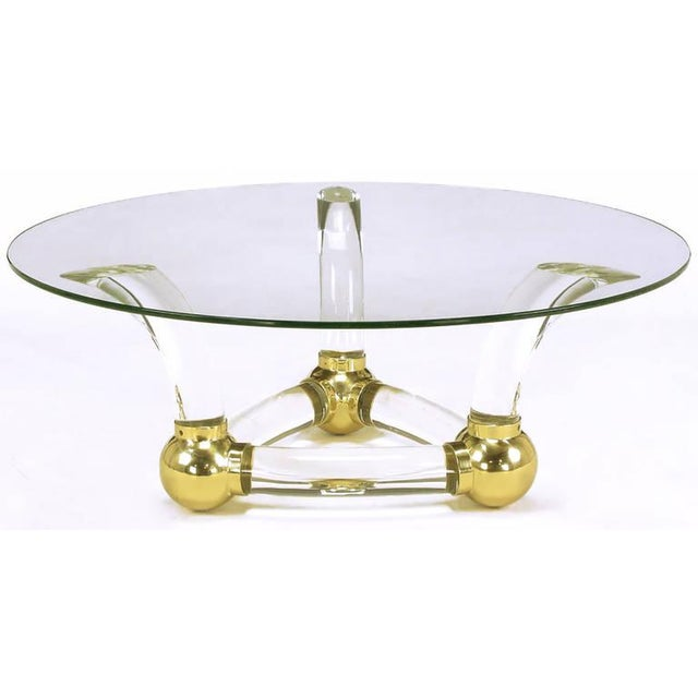 Round Coffee Table With Thick Curved Lucite & Brass Ball Base - Image 3 of 7