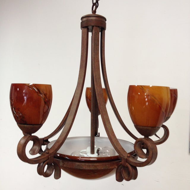Blown Glass Rustic Chandelier - Image 2 of 8