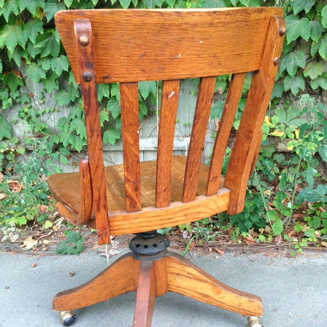 Antique Wood Office Swivel Chair - Image 4 of 9
