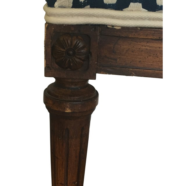 Wood Stools with French Tufted Upholstery - Pair - Image 2 of 4