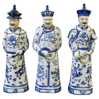 Blue & White Ching Qing Emperors - Set of 3