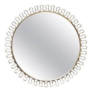 Sculptural Brass Loop Mirror by Josef Frank for Svenskt Tenn Sweden, 1950s