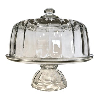 Mid Century Glass Pedestal Cake Plate and Dome