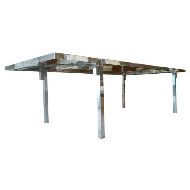 Vintage Aluminium & Smoked Glass Dining Table - Image 2 of 5