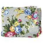 Image of Grey Floral Kantha Throw - A Full