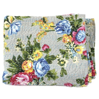 Grey Floral Kantha Throw - A Full
