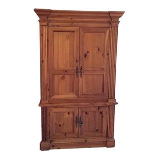 Neoclassic Solid Oak Hooker Armoire