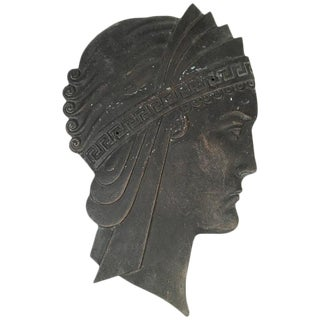Hollywood Regency Art Deco Cast Iron Neoclassical Head Wall Decoration