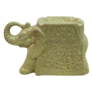 Yellow Ceramic Elephant Ashtray